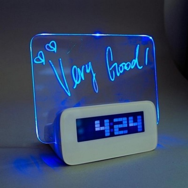 Светящийся LED будильник с доской для записей