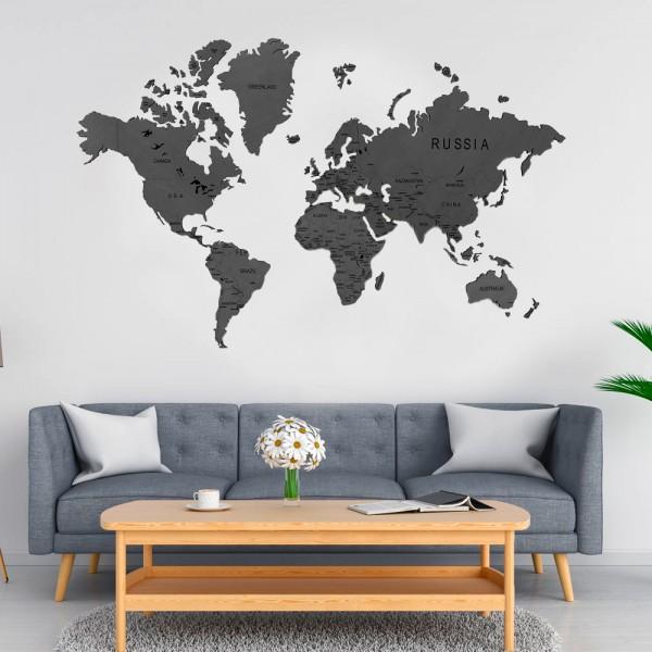 Деревянная карта мира 120х75 Dark Gray