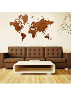 Деревянная карта мира 120х75 Dark Brown