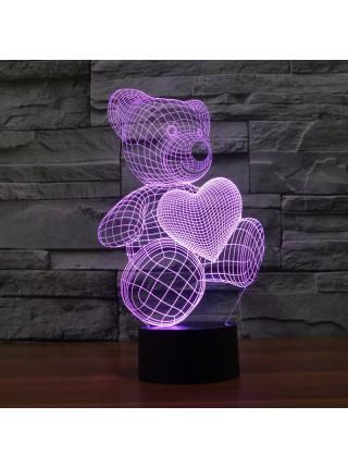 3D Светильник Мишка с сердцем