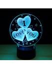 3D Светильник Сердца I love you