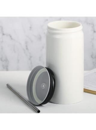 Стакан с трубочкой Coffee (керамика)