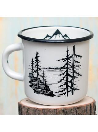 Кружка эмалированная Лес и горы