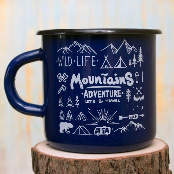Кружка эмалированная Mountains blue
