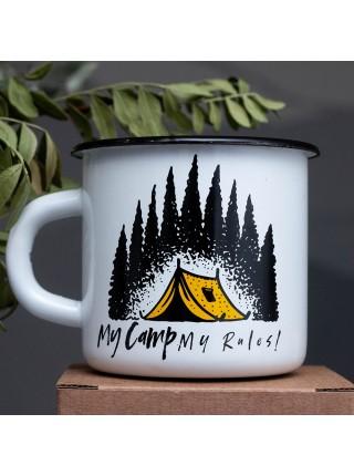 Кружка эмалированная My camp - my rules