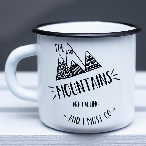Кружка эмалированная Mountains are calling