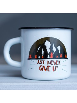 Кружка эмалированная Just never give up