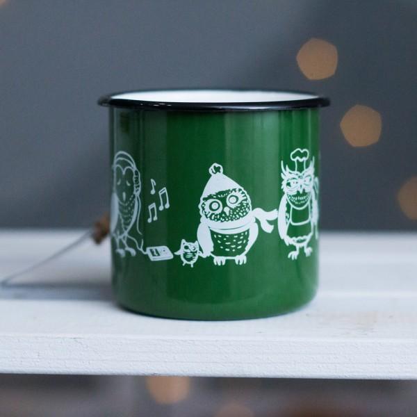Кружка эмалированная Совы Green