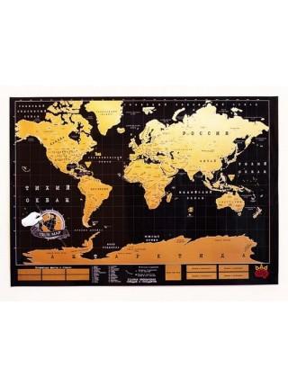 Карта мира со стирающимся скретч слоем Black
