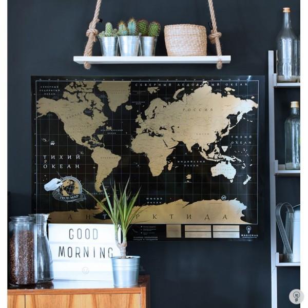 Карта мира со стирающимся скретч слоем True Map Black
