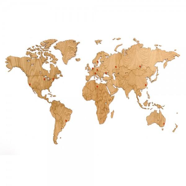 Деревянная карта мира на стену Wall Decoration Exclusive Oak 130х78