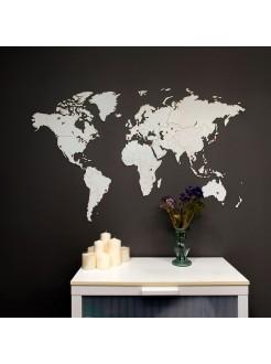 Деревянная карта мира на стену Wall Decoration White 130x78