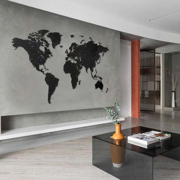 Wall Decoration Black 180х108 карта мира из дерева