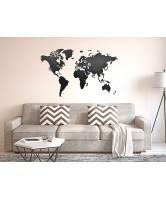 Деревянная карта мира на стену Wall Decoration Black 130х78