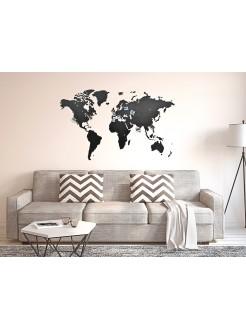Деревянная карта мира на стену Wall Decoration Black