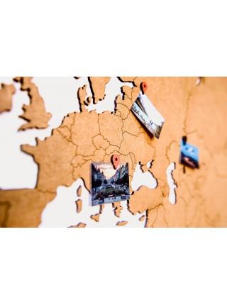 Деревянная карта мира на стену Wall Decoration
